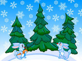 The cartoon coniferous forest with two rabbits. — Stockfoto