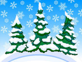 Cartoon image of three snowy conifers with snowflakes — 图库照片