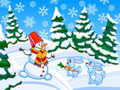 The cartoon coniferous snowy forest with a snowman and two rabbi — Stockfoto