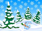 The cartoon coniferous snowy forest with a rabbit. — Stock Photo
