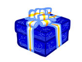 The illustration of a blue present box. — Foto Stock