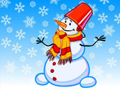 The illustration of a cartoon snowman with snowflakes — Stock Photo