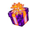 現在は紫色のボックスの図. — ストック写真