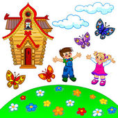 Illustration of cartoon lawn, kids, house, clouds and butterflie — Stock Photo