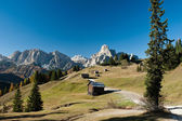 View from Pralongia to Sassongher and Sella — Stock Photo