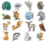 Draw animals collage — Stock Photo
