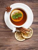 Siyah çay nane ile — Stok fotoğraf