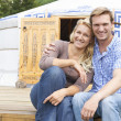 Couple Enjoying Camping Holiday In Traditional Yurt — Stock Photo #49735385