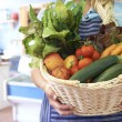 Close Up Of Fresh Produce In Basket At Farm Shop — Stock Photo #49735819