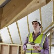 Building Inspector Looking At Roof Of New Property — Stock Photo #49756059
