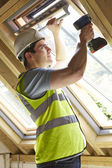 Construction Worker Using Drill To Install Window — Stock Photo