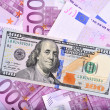 Dollar and euro bank notes on the table — Foto Stock