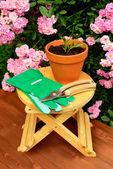 Attrezzi da giardinaggio sul tavolo di legno e sfondo di fiori di rosa — Foto Stock