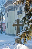 Cross in front of the Greek Catholic Cathedral in Ternopil. — Stock Photo