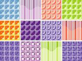 Set of 12 geometric patterns - illustration. — Stock Vector