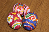 Beautiful easter eggs decorated with beads. Handwork — Stock Photo