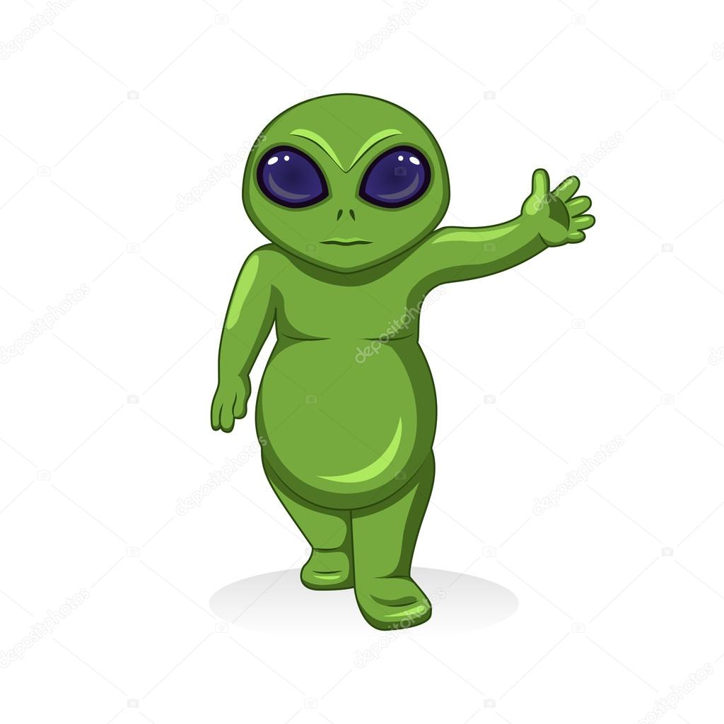 Alieno verde cartone animato di vettore carattere
