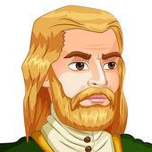 Vector avatar de carácter de un hombre con una barba sobre fondo aislado. pirata — Vector de stock