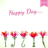 Watercolor beautiful decorative flowers with Happy Day text. Vector — Wektor stockowy