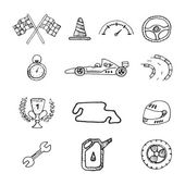 Vector racing icons in a drawing style — Stock Vector