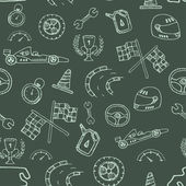 Seamless pattern racing element in a drawing style — 图库矢量图片