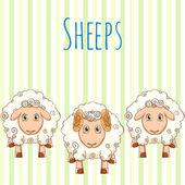 Vector illustration cute cartoon sheep — Stockvector