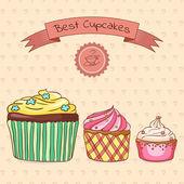 Beautiful card best cupcakes — Stock Vector