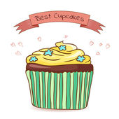 Beautiful card best cupcakes — Vecteur