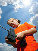 Little boy controlled the RC toy — Stock Photo