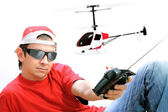The flying RC helicopter — Stock Photo