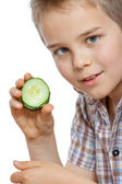 Beautiful little childl with vegetable — Stockfoto