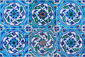 Handmade Traditional Turkish Blue Tile Wall — Stock Photo