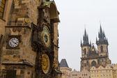Church of Our Lady before Tyn and Astronomical Clock, Prague, Cz — Stock Photo