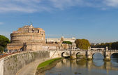 Castel Sant'Angelo and Ponte Sant'Angelo from Rome, Italy — Stock Photo