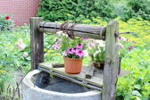 Colorful flowers on the old well — Stock Photo