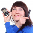Smiling woman with glucometer on white background — Stock Photo