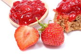 Fresh fruits and strawberry jam on white background — ストック写真
