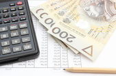 Money, pencil and calculator lying on spreadsheet — Stock Photo