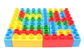 Colorful building blocks for children on white background — Stock Photo