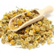 Heap of dried chamomile on wooden spoon — Stock Photo #49510015