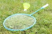 Closeup of badminton racket on grass in summer park — Stock Photo