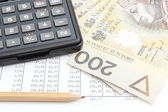 Money, pencil and calculator lying on spreadsheet — Foto Stock