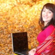 Smiling woman with laptop in autumn park — Stock Photo #50422461