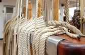 Closeup of thick ropes on sailboat — Foto Stock