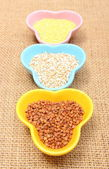 Buckwheat, barley and millet groats in colorful bowl — Stock Photo