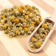 Heap of dried chamomile on wooden spoon — Stock Photo #51330351