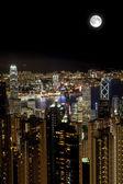 Moon Over Victoria Harbor at Night, Hong Kong — Stock Photo