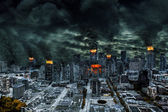 Cinematic Portrayal of Destroyed City With Copy Space — Stock Photo