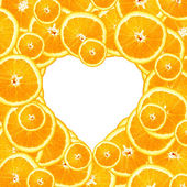 Sweet Orange Slices in a Heart Background — Stock Photo