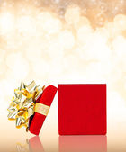 Opened Gift Box With Glittering Background — Stock Photo